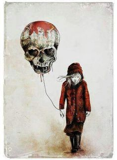 Skull Balloon with girl