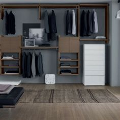 Love this. Free standing drawers and free floor space allows suitcases and big stuff to go in easily.