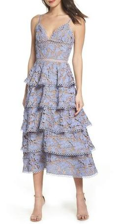 SAU LEE Camellia Lace Tiered Midi Dress