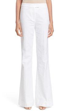 Diane von Furstenberg | 'Nicola' White Woven Flare Pants available at #Nordstrom
