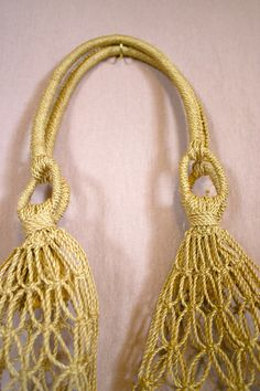 Vintage TRADITIONAL Natural Fiber Sheer Macrame KNOT Tied Bag