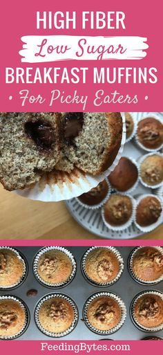 These delicious low sugar high fiber muffins make a nutritious breakfast that add variety to your daily breakfast options. With whole wheat flour, extra bananas, chia and flax seeds in the mix, these muffins are more nutritious than the regular banana bread, and they taste delicious. Great for picky eaters. | Feedingy Bytes Blog