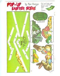 Ribambelles et Ribambins: Easter pop-up. Pop Up Art, Arte Pop Up, Kirigami, Tarjetas Pop Up, Up Book, Easter Printables, 3d Cards, Vintage Easter, Paper Toys