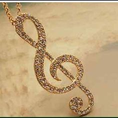 Delicate Music note necklace Fashion women crystal music note rhythm long chain sweater necklace pendant color gold Jewelry Necklaces