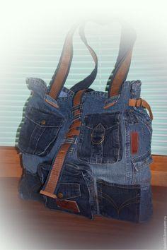 Купить Джинсовая сумка-баул для путешествий - синий, абстрактный, голубой, джинсовый стиль, джинс, джинса
