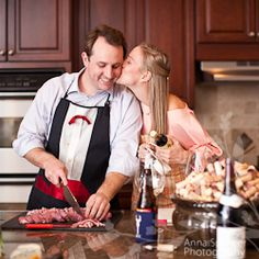 Fine wine & cooking in the couple's home kitchen: Engagement Session!