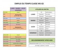 Emploi du temps de MS GS Un exemple d'emploi du temps pour une classe de MS-GS