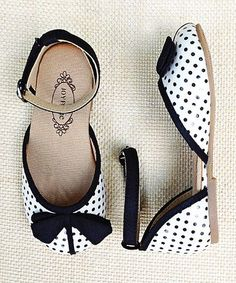 Black & Cream Polka Dot  Ankle-Strap Flat