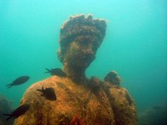 I love scuba diving and would love Underwater Archaeology at Baiae, Naples, Italy. Diving the Ruins of Baiae, Naples, this is something I must do before I die! Underwater Ruins, Underwater Sculpture, Underwater World, Underwater Photos, Underwater Photography, Carthage, Oh The Places You'll Go, Places To Travel, Sunken City