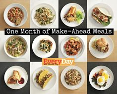 How-To Make One Month of Make-Ahead Meals by Rachel Ray: prep pulled pork, chicken, roasted veggies, and a rice pilaf, and use them to quickly make 20 dinners (dinners all need add-ins, like other veggies and grains)