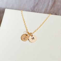 Personalized Necklace Initial Necklace 14k Gold Initial von Folirin