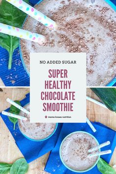 This smoothie recipe has no added sugar and is a perfect healthy treat for toddlers! Sweetened only with fruit. There are 20 healthy recipes in all in the No Sugar, Still Sweet e-cookbook! #toddlermeals #healthytoddler #healthytoddlerfood Toddler Nutrition, Healthy Toddler Meals, Proper Nutrition, Healthy Kids, Kids Meals, Healthy Treats, Healthy Recipes, Sweet Recipes, Healthy Chocolate Smoothie