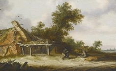 The Athenaeum - Two seated travellers conversing beside a sandy road in front of a ruined barn (Salomon van Ruysdael - )