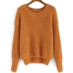 Round Neck Dip Hem Fuzzy Sweater (55 RON) ❤ liked on Polyvore featuring tops, sweaters, yellow, yellow long sleeve top, acrylic sweater, long sleeve pullover sweater, brown sweater and long sleeve pullover