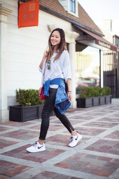 Aimee Song :: Topshop Oversized Casual Striped Shirt // J Brand Cropped Leather Pants // 7 For All Mankind Denim Jacket // Nike Roshe Run in White // Marc Jacobs Oversized Aviators