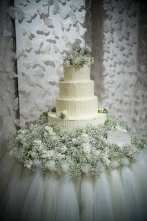 love the tulle table skirt, the butterflies and the babies breath. Tutorial on how to make table skirt Wedding Cake Table Decorations, Wedding Cake Display, Wedding Centerpieces, Wedding Table, Wedding Cakes, Trendy Wedding, Perfect Wedding, Dream Wedding, Wedding Blog