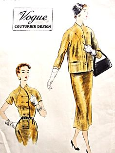 1950s Stylish Slim Dress and Jacket Pattern VOGUE COUTURIER DESIGN 734 Lovely Style Day or Dinner Bust 32 Vintage Sewing Pattern FACTORY FOLDED + Label