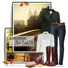 """Autumn in New York City"" by archimedes16 on Polyvore My green jacket would do a look like this. Need the boots! =)"