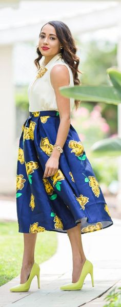 Yellow Floral Skirt Feminine Style by A Keene Sense Of Style