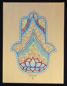 Henna Style Painted Canvas Hamsa by HennaOnHudson on Etsy