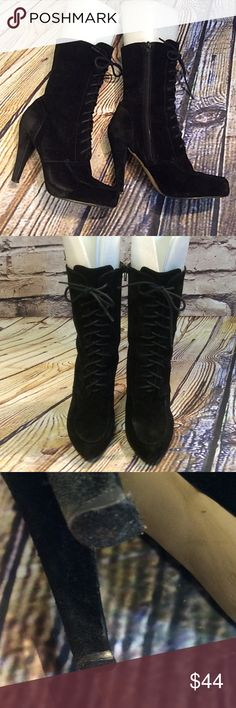 "SZ 8 NINE WEST LACE UP BLACK SUEDE BOOTS Nice pair of boots with some distressed areas and rubbing of the suede. Heels could use new taps and one lace is broken. Still an awesome pair of boots.  4.5"" heel Nine West Shoes Lace Up Boots"