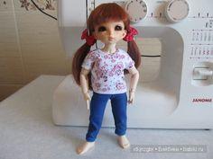Мастер-класс, выкройка по пошиву футболочки и велосипедок (лосин) для кукол формата Литтлфи (BJD Fairyland LittleFee) - http://babiki.ru/blog/master/38092.html