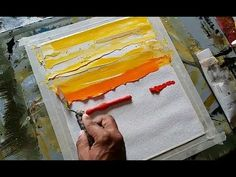 (2379) Abstract painting/Easy/Abstract landscape 08/Just using palette knife/Acrylics/Demonstration - YouTube