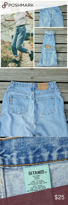 """High Waisted Vintage Denim Mom Jeans This listing is for a classic pair of high waisted denim jeans, light blue wash. 7/10 condition!  Size 12 short, but based off of waist measurement, this pair could possibly fit size waist size 27/28 best. But ABSOLUTELY make sure to refer to ALL measurements before purchasing ! Waist 14"""", rise 12"""", hip 19"""",inseam 28""""  **I have many different sizes and colors of high waisted mom jeans - reach out if you don't see your size listed ! levis Jeans"""