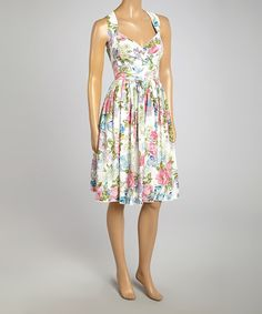Take a look at the Off-White & Pink Floral Surplice Dress - Women on #zulily today!