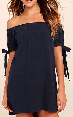 Al Fresco Evenings Navy Blue Off The Shoulder Dress via @bestfashionhq