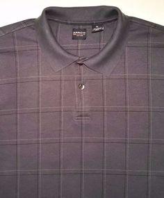Men's Arrow Windowpane Navy Blue Plaid Casual Polo Shirt Short Sleeve sz XL #Arrow #PoloRugby