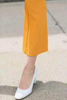 Maryam Nassir Zadeh White Calf Maryam Pump with the Samuji Orange Pead Pants  BONA DRAG