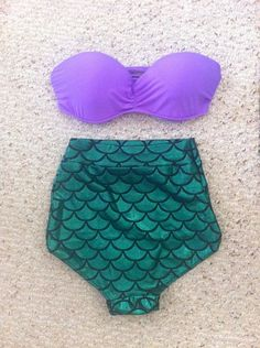 High-waisted Little Mermaid swimsuit. This is overwhelmingly adorable, sexy, awesome and kickass all at once!