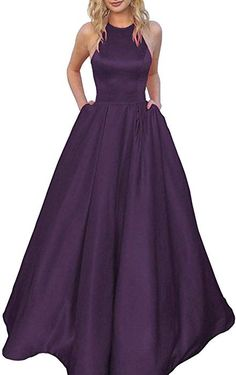 9a3df67e5192 Women's Long Halter A-line Satin Formal Prom Dresses Pockets Evening Party  Gowns No Beaded
