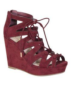 Burgundy Strappy Parker Wedge Sandal #zulily #zulilyfinds
