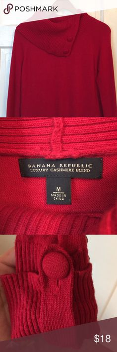 Banana Republic sweater Deep red cashmere blend sweater with fold over turtleneck. Fabric buttoned details on sleeve cuffs match neck buttons. Medium, fits true to size; bottom hits between the waist and hips. Worn a handful of times, so it's lightly loved. Banana Republic Sweaters Cowl & Turtlenecks
