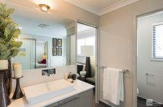 Two-way bathroom in the Milan by Stylemaster Homes