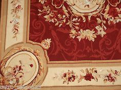 Traditional-French-Aubusson-Style-Wool-needlepoint-Vintage-Hand-Woven-Rug-6-X-9