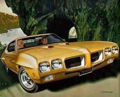 The amazing illustration style of Art Fitzpatrick, back when all cars were illustrated in ads moreso than photographed - the 1970 GTO.