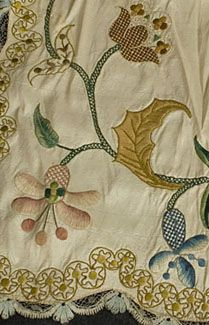 Polychrome silk embroidered apron, c.1730-50.
