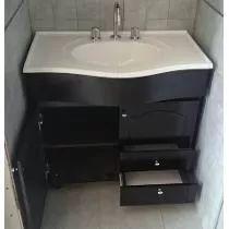 Vanitory 80 Cm Mueble De Baño Madera Laqueada Wengue + Bacha