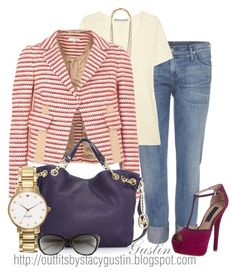 """""""jeans and tweed"""" by stacy-gustin ❤ liked on Polyvore featuring Citizens of Humanity, dVb Victoria Beckham, Stella & Dot, Carven, Michael Kors, Steve Madden, Kate Spade, cat eye glasses, chain strap handbags and chain necklaces"""