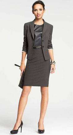 All-Season Stretch Two-Button Jacket and Back-Sweep Pencil Skirt | Ann Taylor