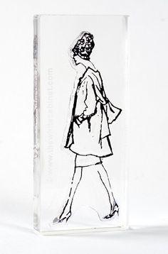 "Sylvia Stamp Vintage Fashion Illustration by Hilda Glasgow. Acrylic stamp on clear block 1.75""x3.5"" $10"