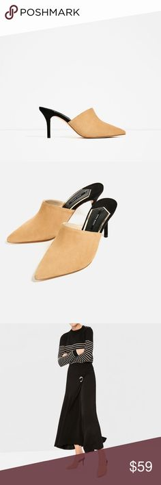 Leather Backless High Heel Shoes - ZARA 100% Leather. High heeled Backless shoes in contrasting colors. High-cut front. Pointed. Stiletto heel. NWT. Size 10 ( EU 41 ) open to reasonable offers! Zara Shoes Mules & Clogs