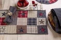 """America Runner Patch Non-quilted 13x36"""" by Victorian Heart. $14.95. America Collection colors: Gunmetal Grey plaid, Cr?me, and Red (not all items have all colors). Extensive line of matching items and accessories available! (Search by Collection name). Product measurements and additional details listed in title and/or Product Description below.. High end quality and workmanship!. All cloth items in our collections are 100% preshrunk cotton. All braided items (li..."""