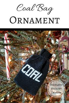 Crochet the Coal Bag Ornament that holds a gift card, candies or trinkets! This is an easy and free pattern for a fun little gag gift or Secret Santa!