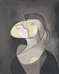 Pablo Picasso, Marie-Thérèse, Face and Profile (Marie-Thérèse, face et profil), Paris, 1931. Oil and charcoal on canvas, 111 x 81 cm.