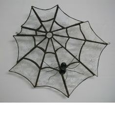 Free Spooky Spider Web stained glass pattern