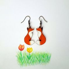 Eeks! Cute shrink plastic fox earrings.